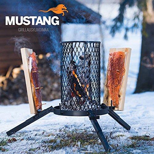Mustang Flammlachs Grill | Feuerkorb | Lachsgrill | 3X Lachsbretter | Finnland