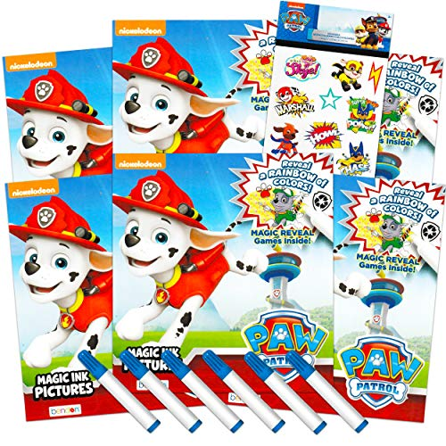 Nick Shop Paw Patrol Imagine Ink Coloring Book Set for Boys Toddlers ~ Pack of 6 No Mess Coloring Books with Bonus Stickers (Paw Patrol Party Favors Bundle)