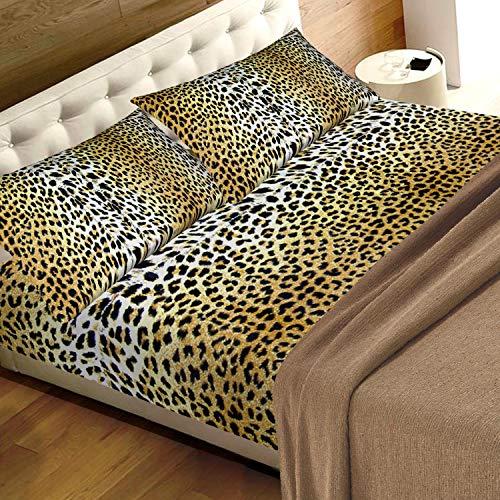 Juego de sábanas de leopardo para cama de matrimonio de 2 plazas, 100% algodón puro, fabricado en Italia, diseño de leopardo