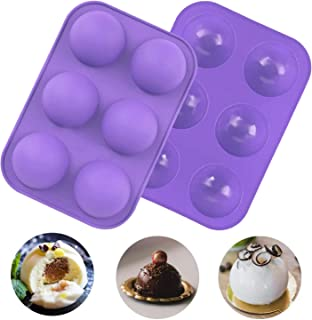 6 Holes Semi Sphere Silicone Molds,2 Pack Hot Silicone Chocolate Molds Baking Mold for Making Hot Chocolate Bomb, Cake, Je...