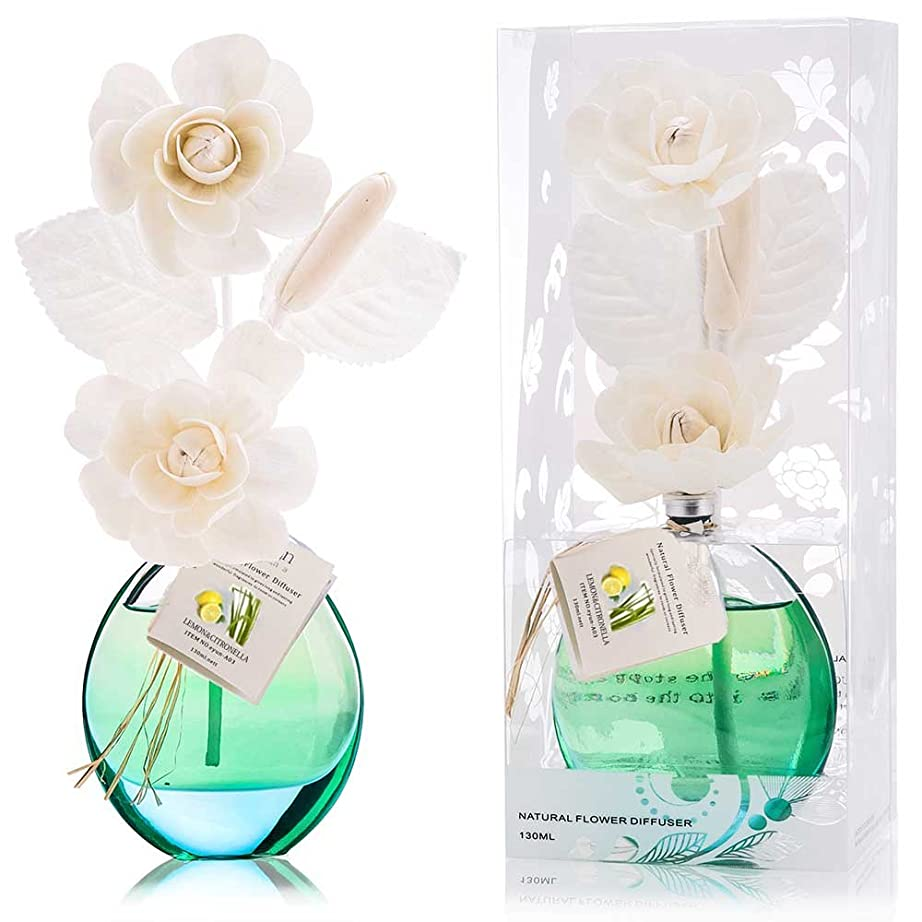 眠りれる面積誕生日 プレゼント に A03 ルームフレグランス (花瓶:緑色、香り:レモン&レモングラス)