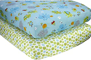 2 Piece Blue Green Orange Under the Sea Fitted Crib Sheets, Nautical Themed Nursery Bedding, Infant Child Toddler Cute Adorable Animals Fish Octopus Turtles Ocean Water Dots Pattern, Cotton Polyester