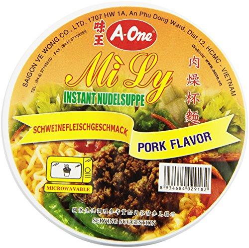 A-One Fideos Instantáneos En Vaso, Sabor Carne Cerdo 60 g