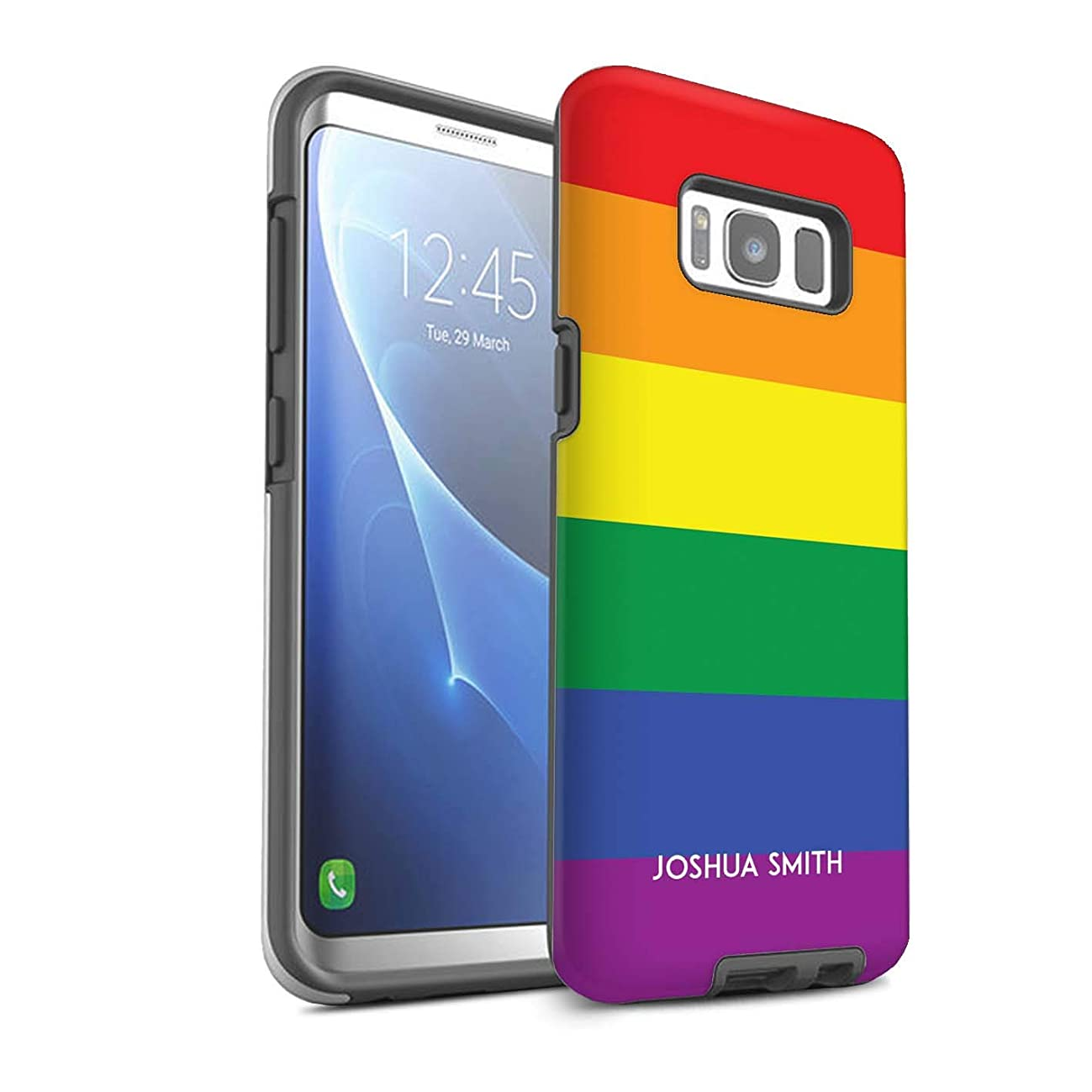 Personalized Custom LGBT Gay Pride Matte Case for Samsung Galaxy S8/G950 / Rainbow Stripes Stamp Design/Initial/Name/Text Shockproof DIY Cover