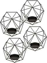 Flameer 4-Set Geometric Polished Tealight Candle Holder Table Top Centerpiece Weddings Events Parties Decor - Black