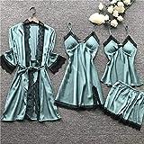 JFCDB Pijama de Verano,Summr New Satin Black Lace Ropa de Dormir para Mujer con Almohadilla para el Pecho Camisón Shorst Cardigan Set Pijamas, como pic, L
