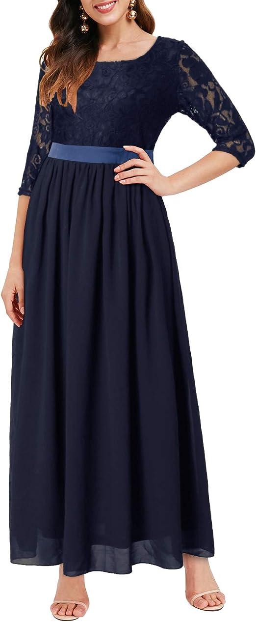 Auxo Damen Maxi Kleider Lang Abendkleid Festlich Cocktail Herbstkleider Elegant Hochzeitkleid Amazon De Bekleidung