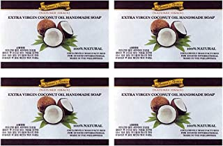 Extra Virgin Organic Philippine Cold Pressed Coconut Oil Noni Calamansi Handmade Natural Face Beauty Hand Body Bar Soap 4.3 Ounce (Pack of 4) for Dry Sensitive Skin (Coconut)