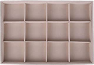 Fleece Jewelry Box Plate Jewelry Display Earring Holder Ring Necklace Display Tray Stand Organizer Box Case Watch Display,12 Lattices