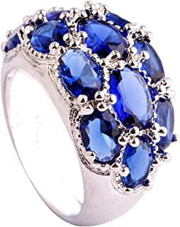 Narica Womens Brilliant 6mmx4mm Oval Cut Sapphire Quartz Gemstones Cocktail Ring