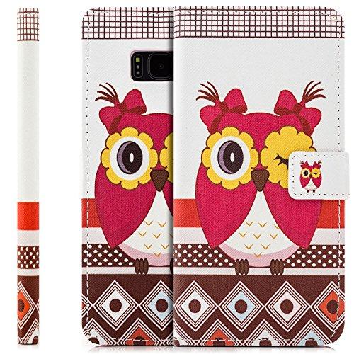 Preisvergleich Produktbild Saxonia Tasche Samsung Galaxy S8 Plus Hülle Flip Case Schutzhülle Handytasche mit Kartenfach Motiv Rot Owl