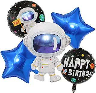 ED-Lumos 5Pcs Space Astronaut Reusable Helium Balloons with Blue Stars for Birthday Party Decoration Kids Gift