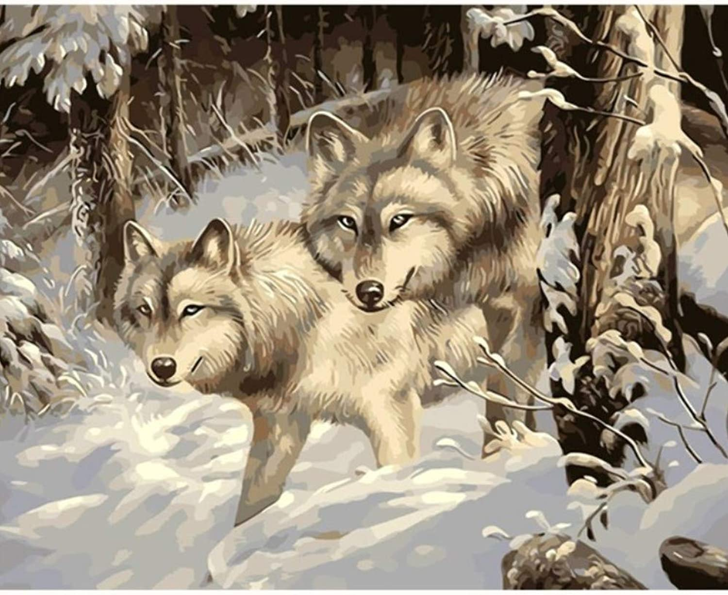 Wolf Snow Night Wolves Animal Painting by Numbers Canvas Painting Print On Canvas Unique Gift Home Decor Wall Artwork Hand Paint 50x60CM