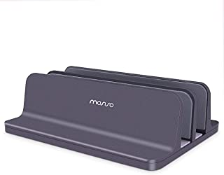 MOSISO Laptop Stand Newly Designed Vertical Aluminum Alloy Dual Cradles Desk Holder Double Space-Saving Stand Dock in One-...