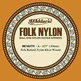 D'Addario BES037W - Cuerda para guitarra de nylon con entorchado de plata, 037, extremo de bola