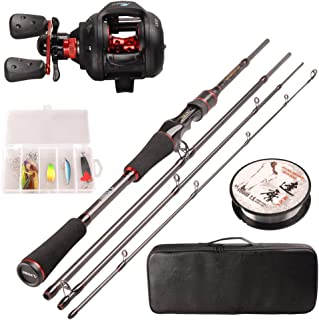 LUREMASTER 4 Pieces Baitcasting Fishing Rod and Reel Combos Full Kit Carbon Fiber Fishing Pole Sets Light Action with Reel...