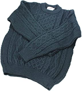 Aran Wool Sweater Men's and Women's Cable Knit Crew Neck 100% Lambswool Made in Ireland