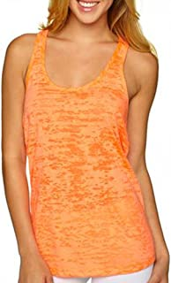 Activewear Running Workouts Clothes Yoga Racerback Tank Tops Women (M, Orange)