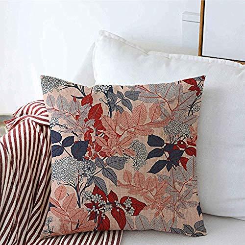 New-WWorld-Shop Kissenbezüge Textur Sanfte Typografie Romantik R.etro Trendy Fashion Bunte rosa Zweig botanische Blatt blau Kissenbezüge
