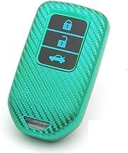 JVCV® Soft TPU Carbon Fiber Style Car Key Cover Compatible with Honda Smart Key (Green)