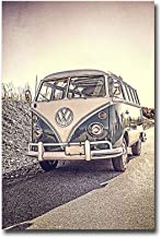 'Surfer's Vintage VW Bus' by Edward M. Fielding Premium Gallery Wrapped Canvas Giclee Art (36 in x 24 in, Ready to Hang)