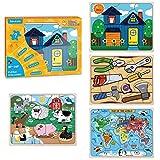 PAPERKIDDO 4 Piezas Puzzles de Madera Educativos Juguetes Bebes,Colorido Rompecabezas de Madera Juguetes de Inteligencia para niños 2-6 años (Tema Animales, Frutas y Transportes)