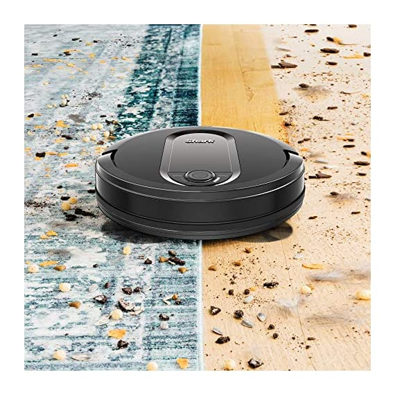 Shark IQ RV1001, Wi-Fi Connected, Home Mapping Robot Vacuum, Without Auto-Empty dock, Black 4 Unbeatable suction vs. any Shark robot vacuum for pickup of large and small debris, as well as pet hair on carpets and hard-floors. Self-cleaning brushroll removes pet hair and long hair from the brushroll as it cleans--no more hair wrap. Schedule whole-home cleanings or target specific rooms or areas to clean right now with the Shark Clean app or voice control with Amazon Alexa or Google Assistant.