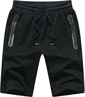 JustSun Men's Cotton Sports Shorts with Zip Pockets