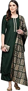GoSriki Women's Cotton Solid Kurta with Palazzos & Dupatta