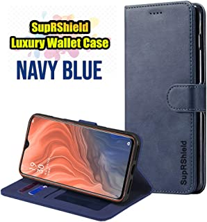 for Oppo Reno Z SupRShield Luxury Wallet Leather Flip Stand Magnetic Classic Valvet Type Shockproof Protective Case Cover (Navy Blue)
