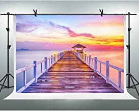 FHZON 10x7ft Maldives Wooden Bridge Photography Backdrop Sunset Sea Light Background TV Wall Wallpaper Themed Party YouTube Backdrops Photo Booth Studio Props FH1357