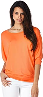 Jubilee Couture Women's Color Dolman 3/4 Sleeve Pullover Tee Shirt Top Blouse