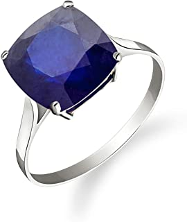 💎Galaxy Gold💎 14K Solid White Gold Ring Natural Cushion 4.83 Carat Sapphire