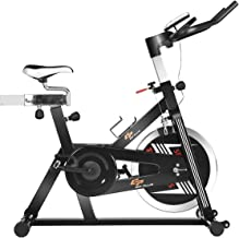 Goplus Indoor Cycling Bike, Stationary Bicycle with Flywheel and LCD Display, Cardio Fitness Cycle Trainer Professional Exercise Bike for Home and Gym Use