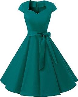 MuaDress Damen Vintage 50er Rockabilly Retro Kleider Eleganter Faltenrock mit Flügelärmeln