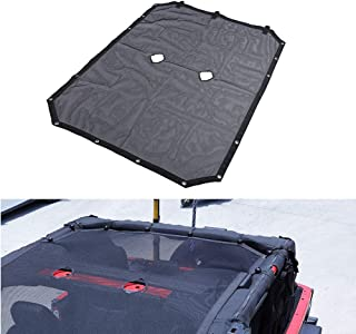 AUXMART Soft Sunshade Mesh Shade Bikini Top Cover for Jeep Wrangler JK Sahara Sport Rubicon X & Unlimited 2007-2017 (4 Door Models)