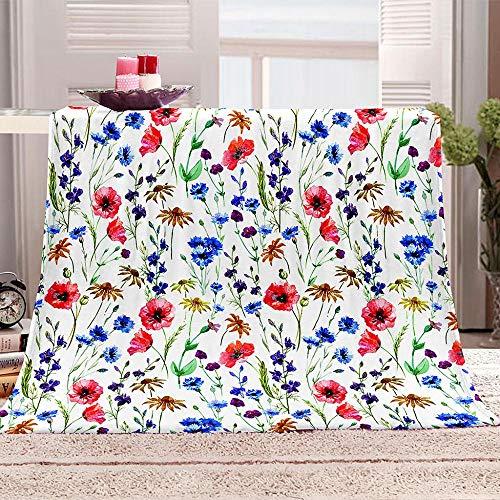 EWYTWD Wohn- & Kuscheldecken Baumwoll-Einzelbettdecken , All Seasons Sherpa Plaid-Decken für Bett Sofa Flanell Fleece 3D-gedruckte DeckenBlumenmuster 130 * 150 cm