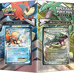 theme deck containing a foil card of Rayquaza-EX or keldeo-ex In each 60-card deck you will find 8 foil basic energy cards and Tournament-level trainer cards, including vs seeker, Professor sycamore, N, and more Each box also contains 2 metallic Coin...