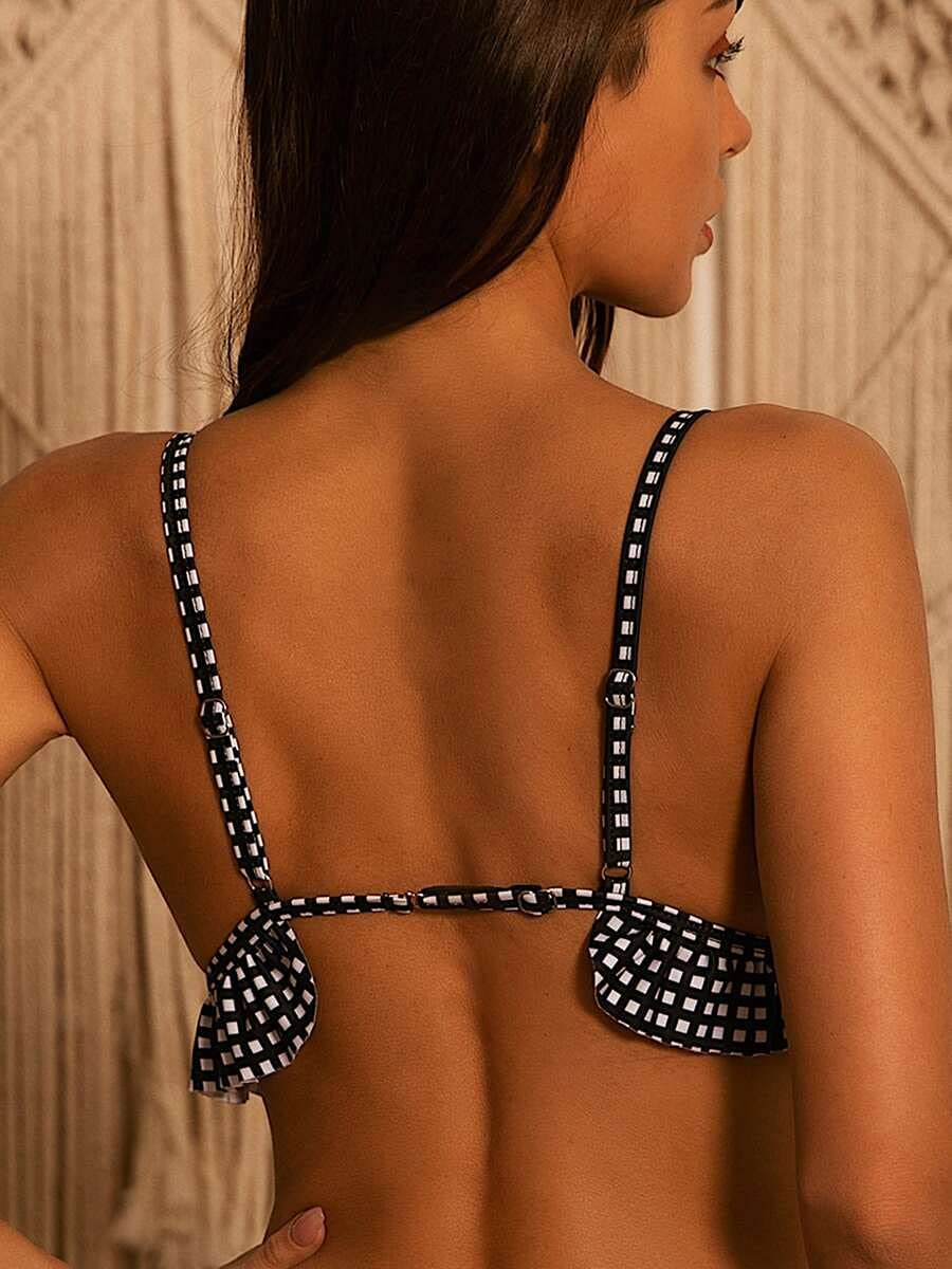 NICEAPR Bikini Plaid Ruffle Top and Finally resale start 70% OFF Outlet Black Color : White