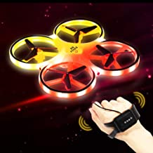 $29 » SIX FOXES Hand Operated RC Drones for Kids, Gravity Sensor Hand Drone RC Quadcopter Helicopter, LED Mini Aircraft Drone Toy Included 2 Drone Battery, Gifts for Birthday, Christmas, Children' Day