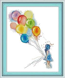 YEESAM ART New Cross Stitch Kits Advanced Patterns for Beginners Kids Adults - Girl Colorful Balloons - DIY Needlework Wedding Christmas Gifts (Girl, White)