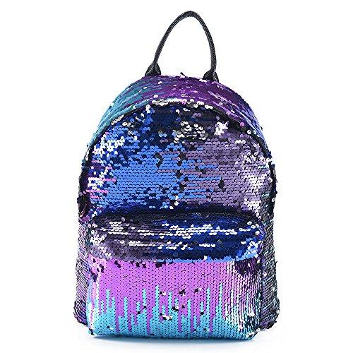 ColdShine Girls Sequin Backpack Glitter Bling Rucksack for School Women Sparkle Casual Daypack Shoulder Bag (Blue)