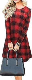 Blooming Jelly Vestido a Cuadros de Manga Larga para Mujer Swing Jumper Winter T Shirt Vestidos para Mujer
