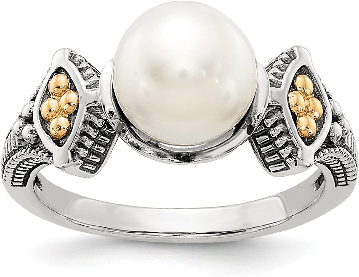 Beautiful White and yellow gold 14K Whiteandyellowgold Sterling Silver w 14k 88.5mm FW Cultured Pearl Ring