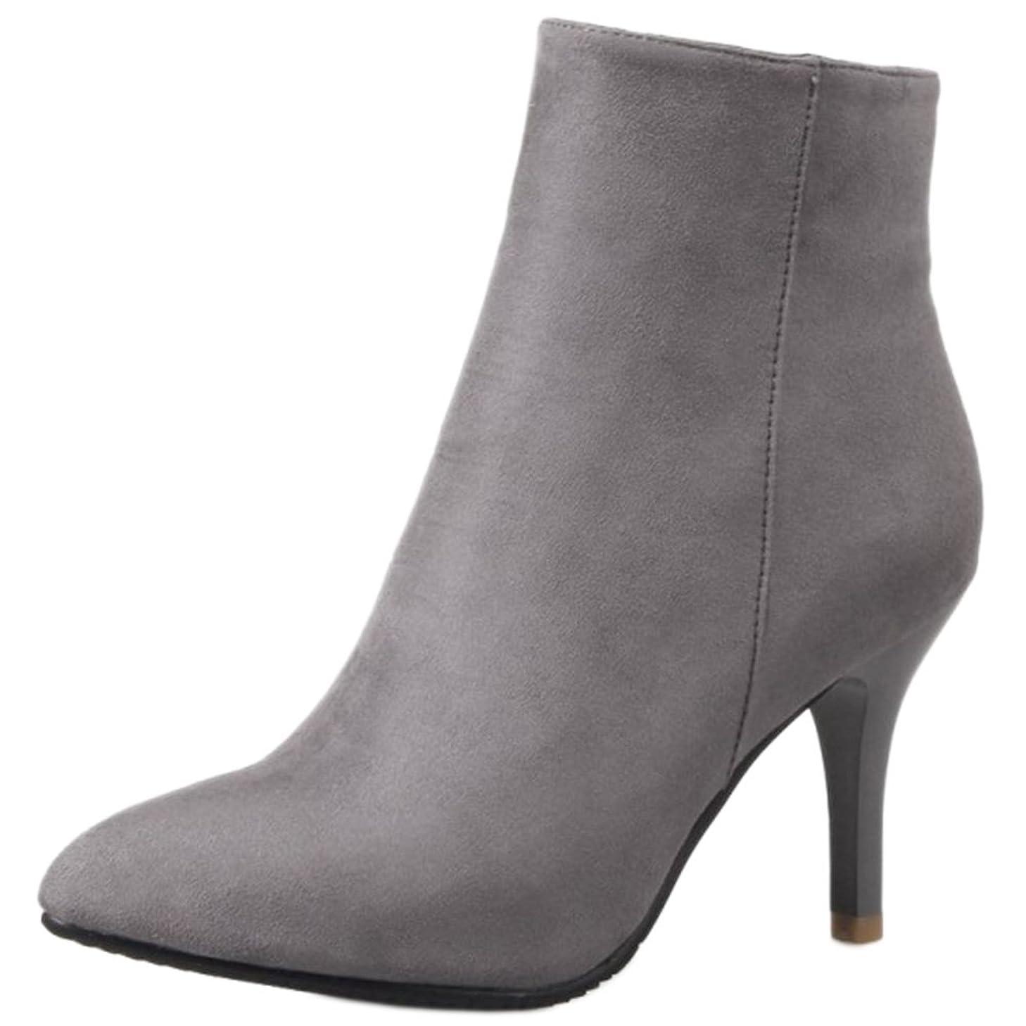夕食を作る品種治す[COOLCEPT] レディース シンプル ピンヒール ブーツ サイドジップ アンクル ブーツ 大きいサイズ