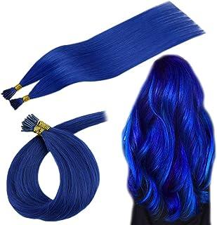 RUNATURE Fusion Itip Remy Hair Extensions, 22 Inches I Tip Hair Keratin Multi-Colors Blue 25g Per Set 1g Per Strand Prebonded Keratin Human Hair Stick Tip Brazilian Human Hair Extensions