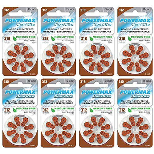Powermax Size 312 Hearing Aid Batteries, Brown Tab, Made In the USA, 64-Count