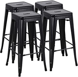 Yaheetech 30 inches Metal Bar Stools Set of 4 High Backless Barstool Stackable Bar/Counter Height Stools Chairs,Black