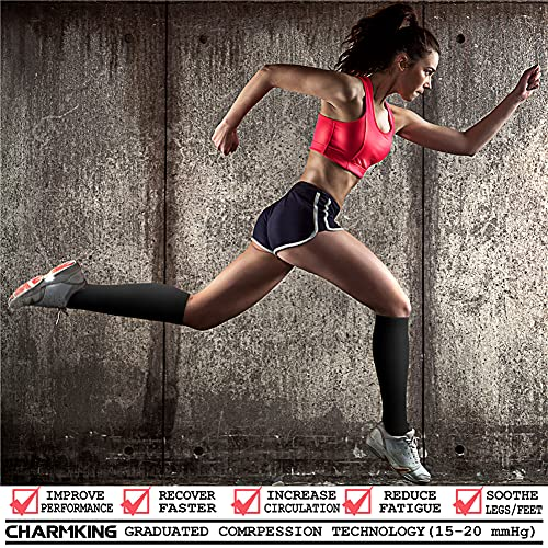 CHARMKING Compression Socks (3 Pairs) 15-20 mmHg is Best Athletic for Women & Men, Running, Flight Travel, Crossfit, Cycling, Pregnant - Boost Performance, Flexibility, Durability (S/M, Black)
