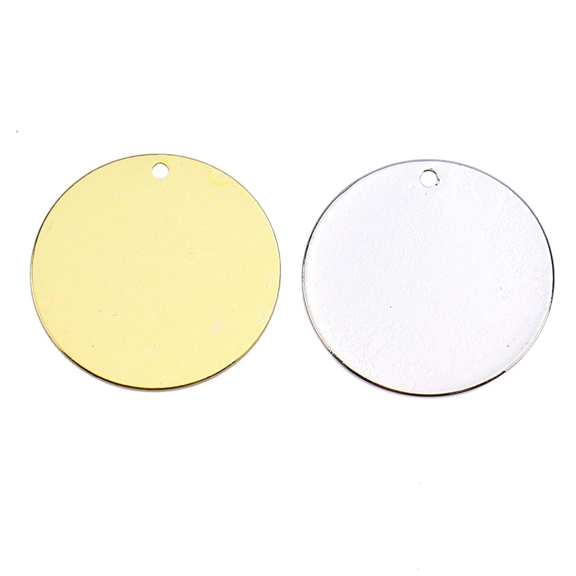 Monrocco 30pcs Brass Stamping Blanks - 20 mm? - Round Blank Stamping Tags Hole for Jewelry Making (Gold & Silver)